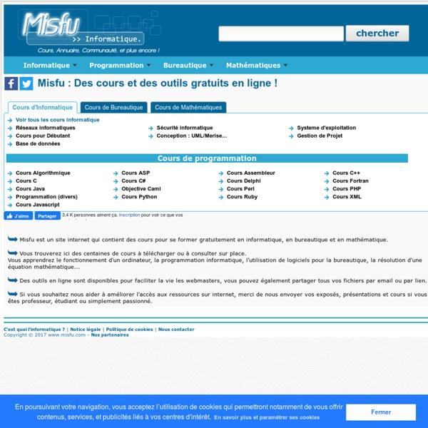 Formation en informatique et mathématiques en .pdf .zip .rar à télécharger ou à consulter gratuitement