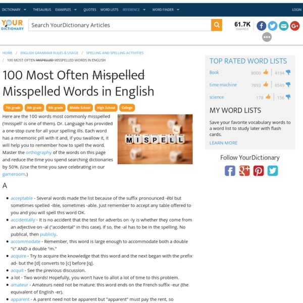 100 Most Often <strike>Mispelled</strike> Misspelled Words in English