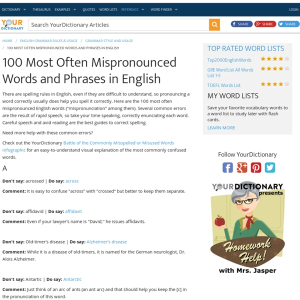 100 Most Often Mispronounced Words and Phrases in English