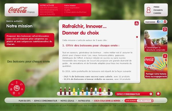 Missions, activité Coca-Cola Services France