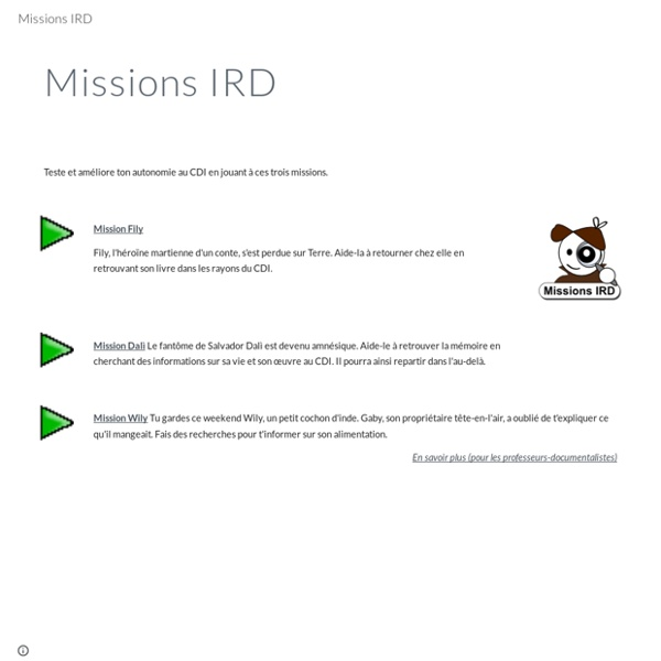 Missions IRD