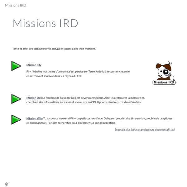 JEU : Missions IRD