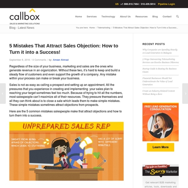 5 Mistakes That Attract Sales Objection: Turn it into a Success!