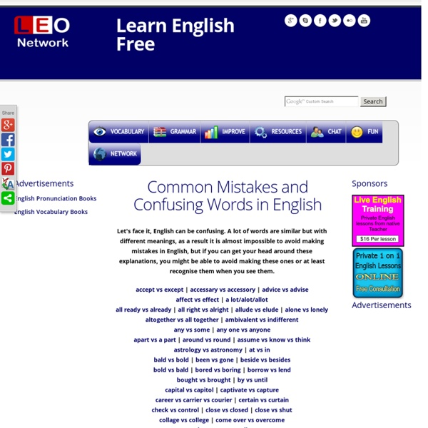 Common Mistakes and Confusing Words in English - Learn English Mistakes