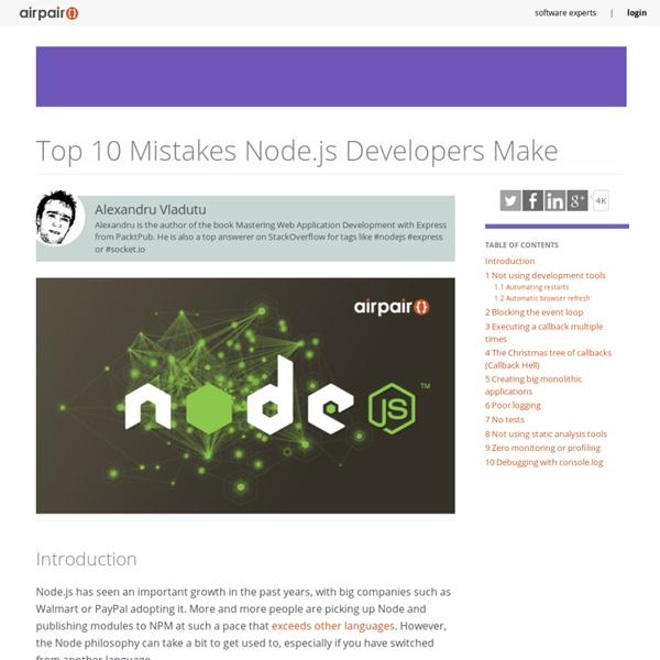 Top 10 Mistakes Node.js Developers Make