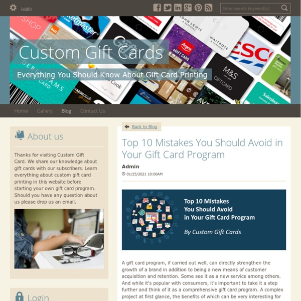 Top 10 Mistakes You Should Avoid in Your Gift Card Program - Custom Gift Cards : powered by Doodlekit
