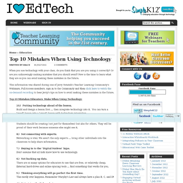 Top 10 Mistakes When Using Technology