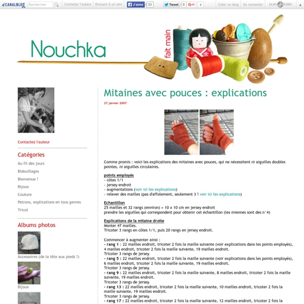 Mitaines avec pouces explications nouchka tricot et for Couture meaning in english