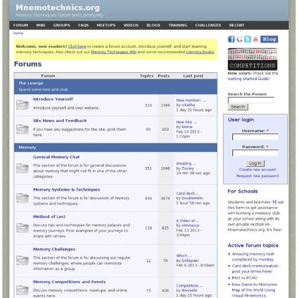 Mnemotechnics.org: Memory Techniques Forum and Training