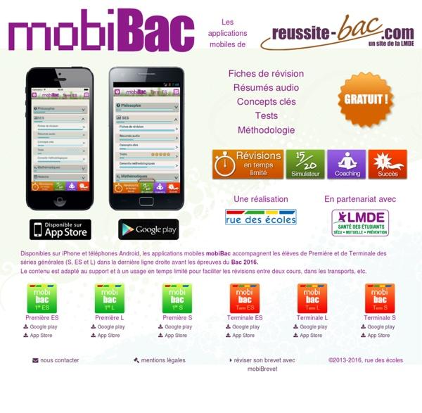 MobiBac - les applications mobiles iPhone et Android de rue des écoles pour réviser son bac 2016
