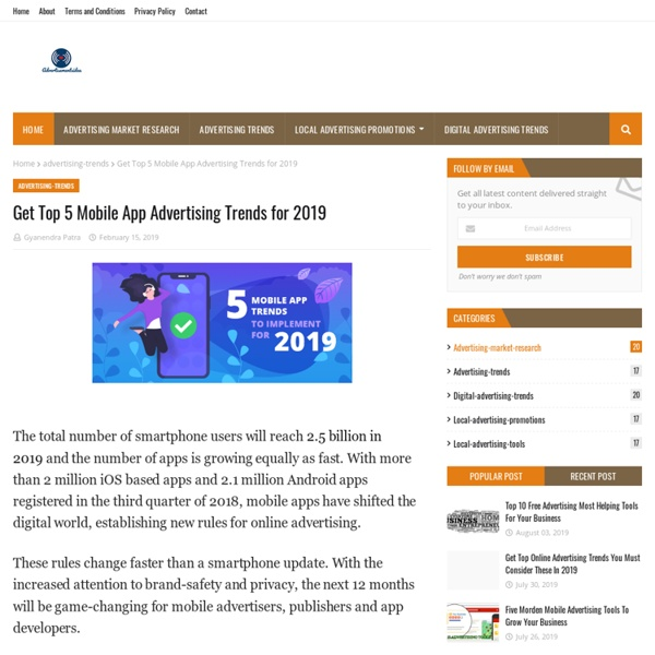 Get Top 5 Mobile App Advertising Trends for 2019
