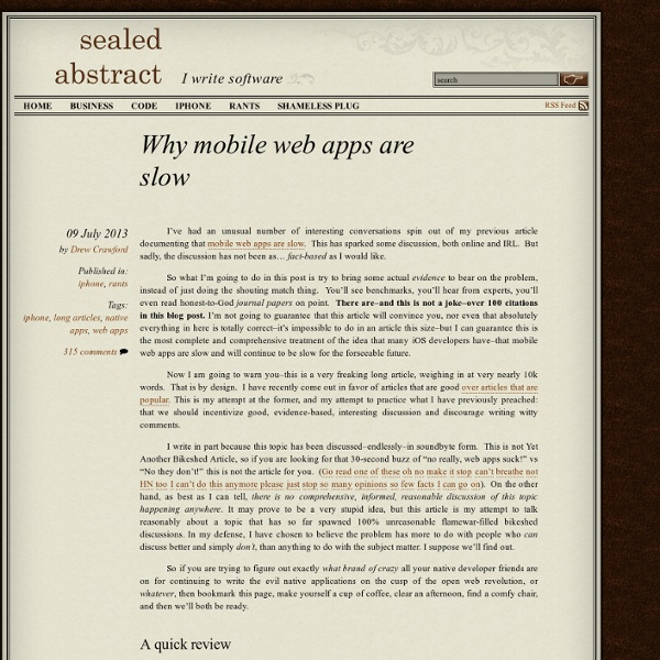 Why mobile web apps are slow