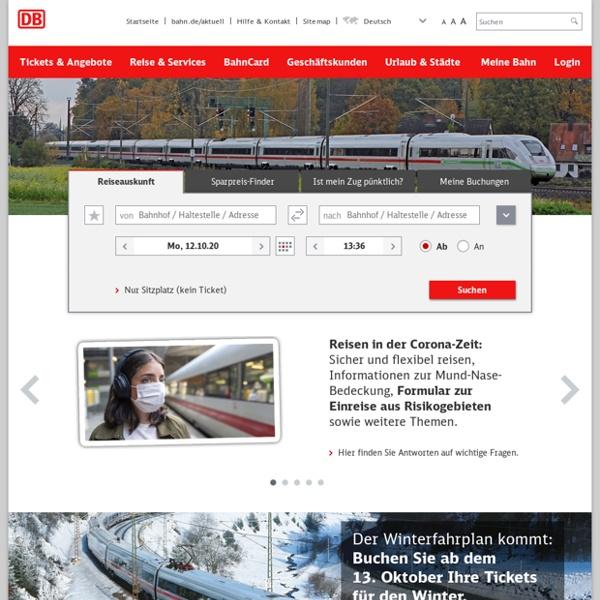 DB Bahn: bahn.de - Ihr Mobilitätsportal für Reisen, Bahn, Urlaub, Hotels, Städtereisen und Mietwagen