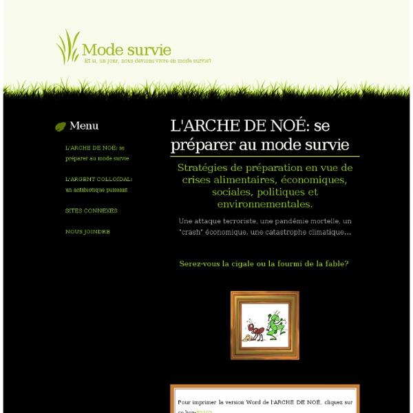 Mode survie - L'ARCHE DE NOÉ: se préparer au mode survie