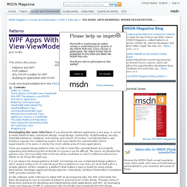 THE MODEL-VIEW-VIEWMODEL (MVVM) DESIGN PATTERN FOR WPF