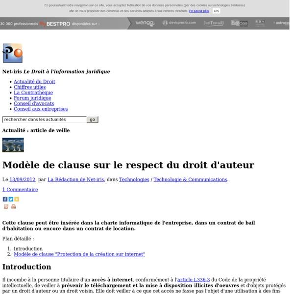 Modèle de clause sur le respect du droit d'auteur
