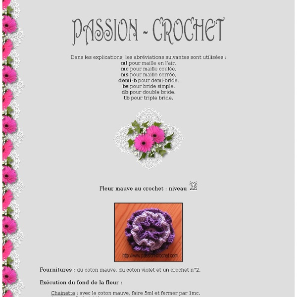 Modèle de fleur au crochet à coudre