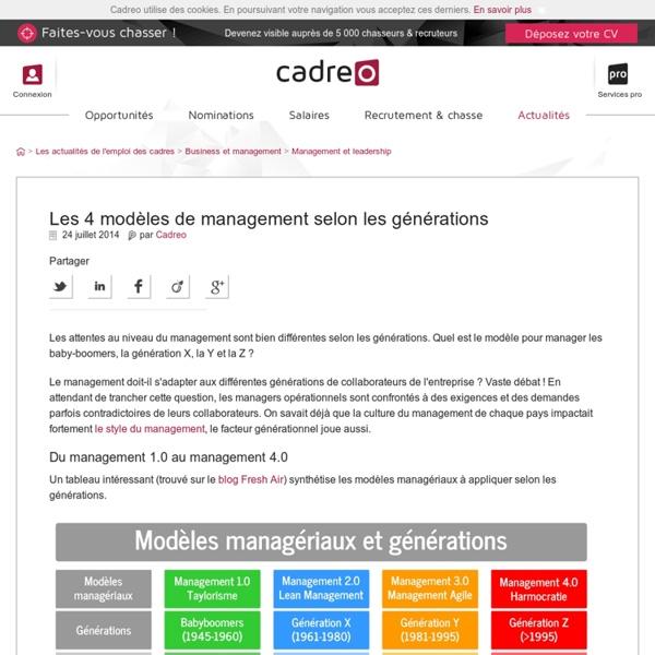 Les 4 modèles de management selon les générations