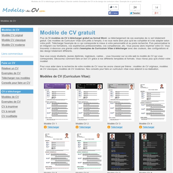 50 Modèles de CV à Télécharger Gratuit au Format Word