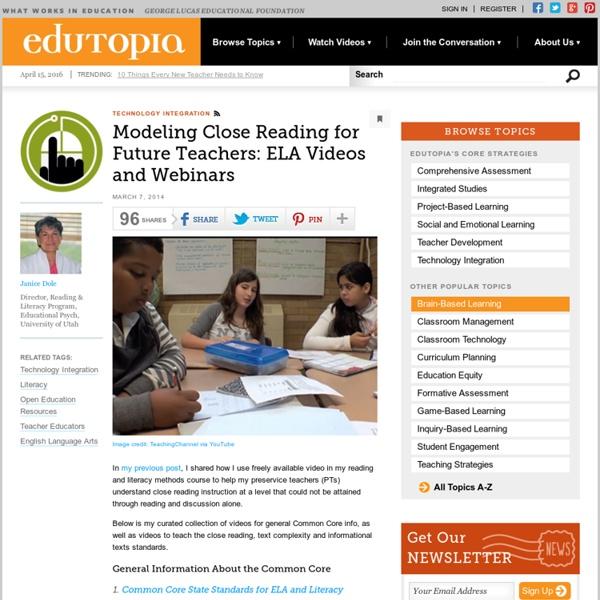 Modeling Close Reading for Future Teachers: ELA Videos and Webinars