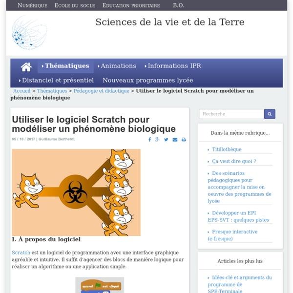 Utiliser le logiciel Scratch pour modéliser un phénomène biologique