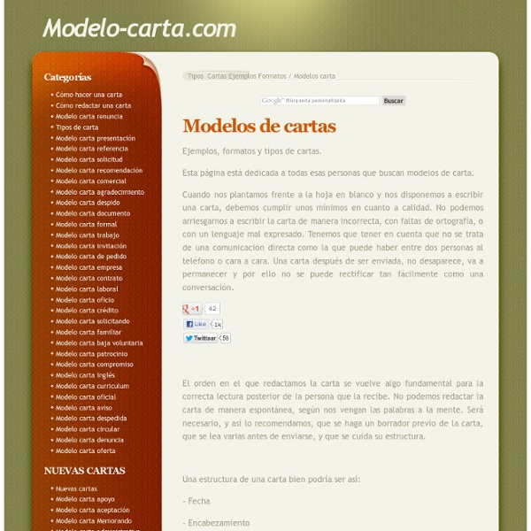 Modelos de cartas - Ejemplos y tipos de cartas