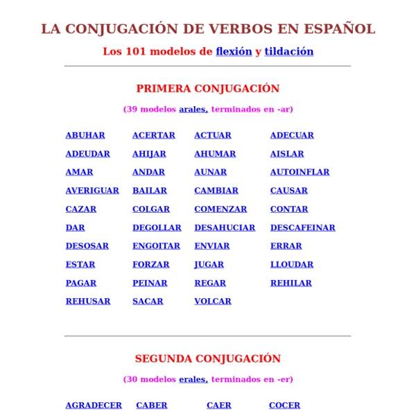 LOS 101 MODELOS DE CONJUGACION EN ESPANOL