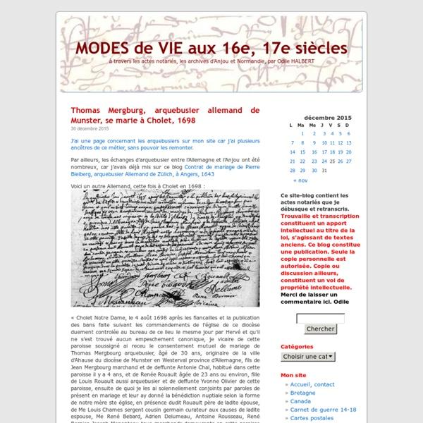 MODES de VIE aux 16e, 17e siècles
