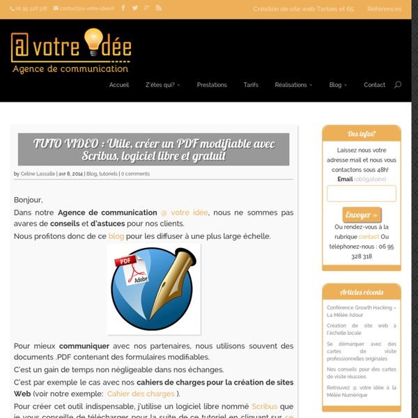 A votre idée – Agence de communication TUTO VIDEO : Utile, créer un PDF modifiable avec Scribus, logiciel libre et gratuit » A votre idée - Agence de communication