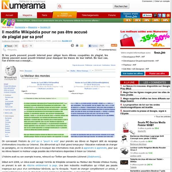 Il modifie Wikipédia pour ne pas être accusé de plagiat par sa prof