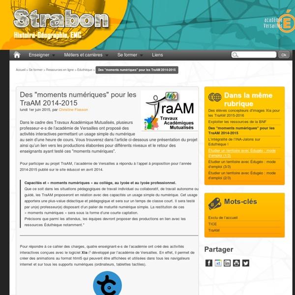"""Des """"moments numériques"""" pour les TraAM 2014-2015"""
