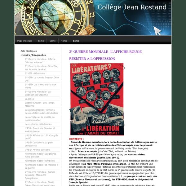 2° Guerre Mondiale - l' Affiche Rouge - Site Jimdo de histoiredesarts2012!