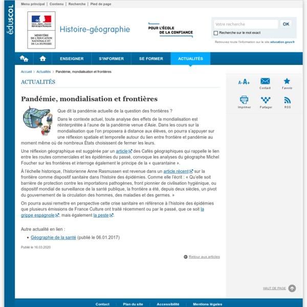 Pandémie, mondialisation et frontières-Histoire-géographie-Éduscol