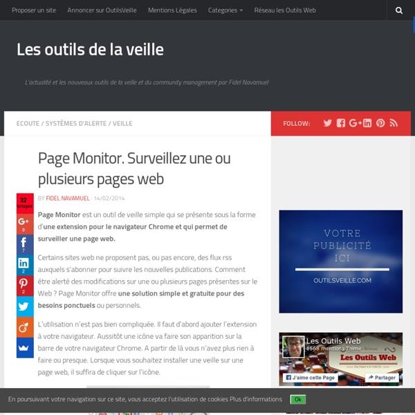 Page Monitor. Surveillez une ou plusieurs pages web
