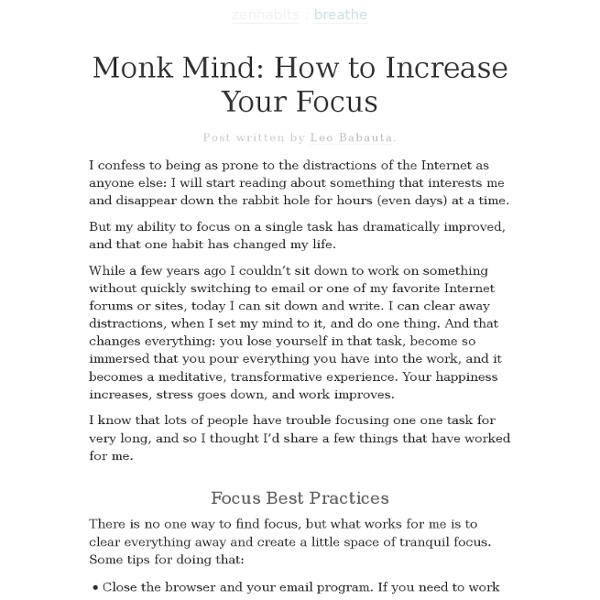 » Monk Mind: How to Increase Your Focus