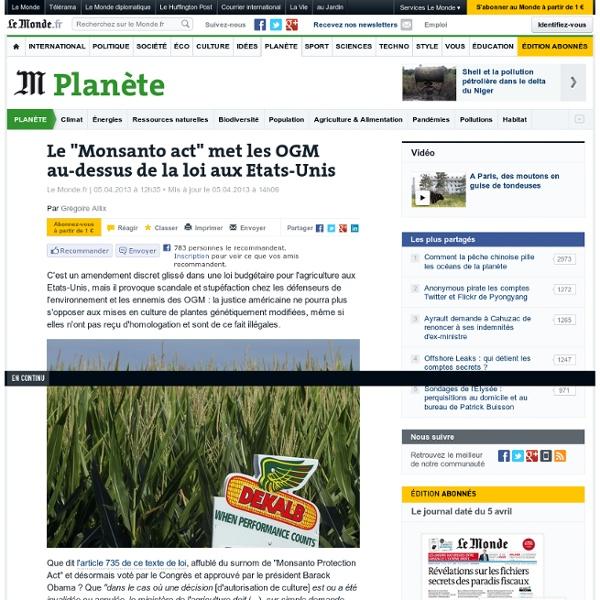 """Le """"Monsanto act"""" met les OGM au-dessus de la loi aux Etats-Unis"""