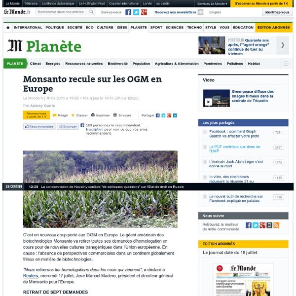 Monsanto recule sur les OGM en Europe