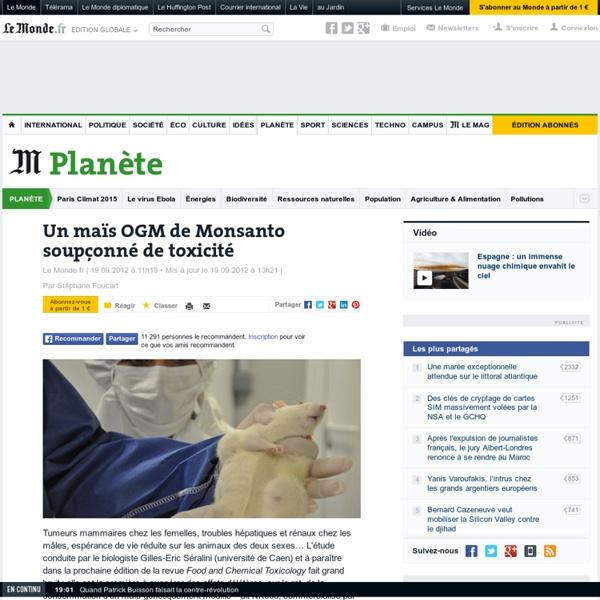 LE MONDE 19/09/12 Un maïs OGM de Monsanto soupçonné de toxicité