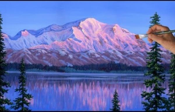Comment peindre Montagne de Neige Glaciers Acrylique Toile