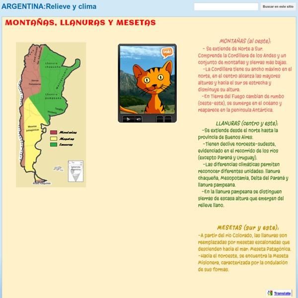 MONTAÑAS, LLANURAS Y MESETAS - ARGENTINA:Relieve y clima