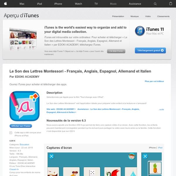Le Son des Lettres Montessori - Français, Anglais, Espagnol, Allemand et Italien dans l'App Store
