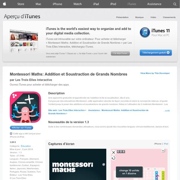 Montessori Maths: Additions et Soustractions de Grands Nombres pour iPhone 3GS, iPhone 4, iPhone4S, iPhone5, iPodtouch (3egénération), iPod touch (4e génération), iPod touch (5e génération) et iPad dans l'App Store d'iTunes
