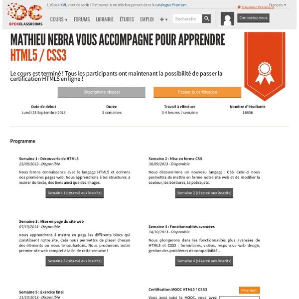 MOOC HTML5 / CSS3