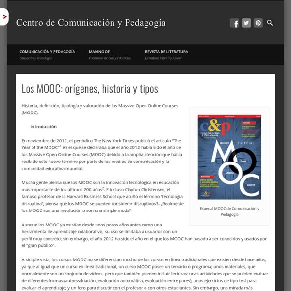 Pernías Peco, Pedro y Sergio Luján Mora (2014). Los MOOC: orígenes, historia y tipos