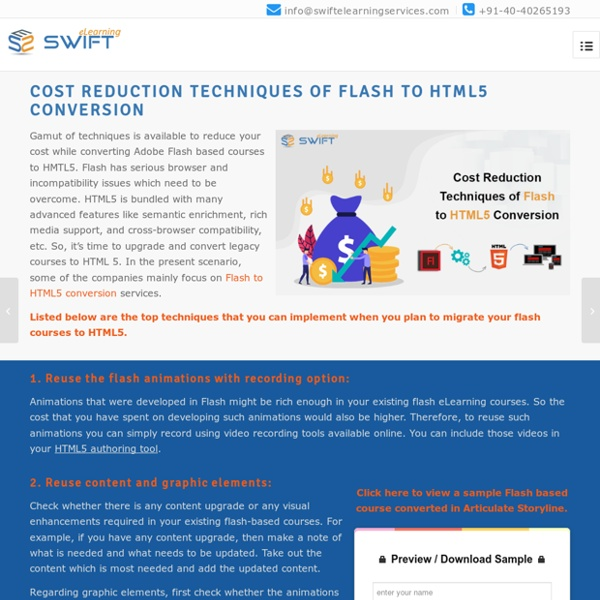 Best Cost Reduction Techniques For Flash to HTML5 Conversion