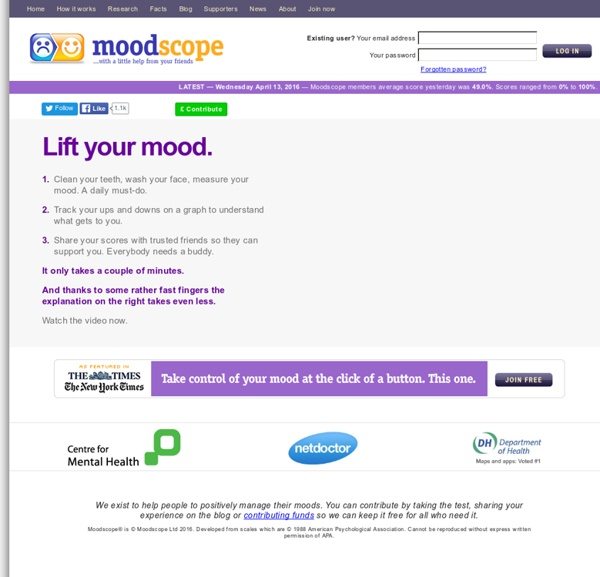 Moodscope - Lift your mood with a little help from your friends