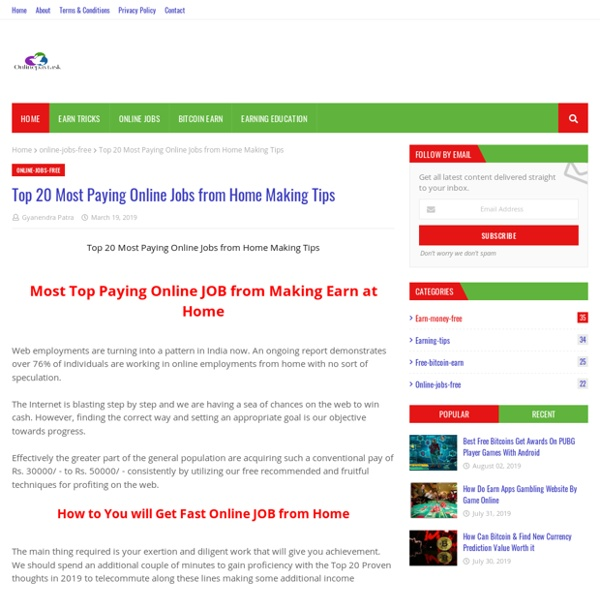 Top 20 Most Paying Online Jobs from Home Making Tips