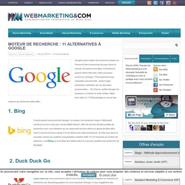 11 alternatives à Google