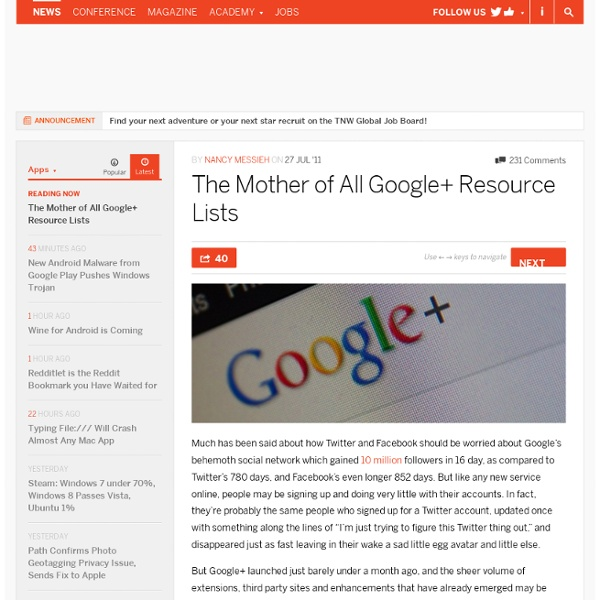 The Mother of All Google+ Resource Lists - TNW Apps