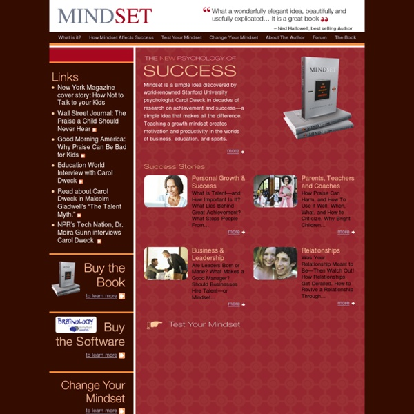 MindSet: A Book written by Carol Dweck. Teaching a growth mindset creates motivation and productivity in the worlds of business, education, and sports.